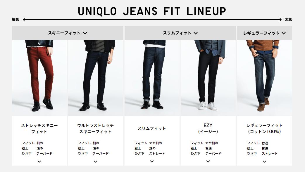 ユニクロのジーンズの種類